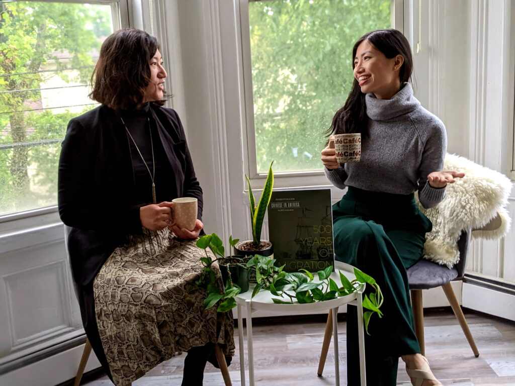 Immigrant History Initiative co-founders Kathy Lu and Julia Wang discuss their Chinese American history curriculum, 500 Years of Migration. Photo courtesy of Kathy Lu.